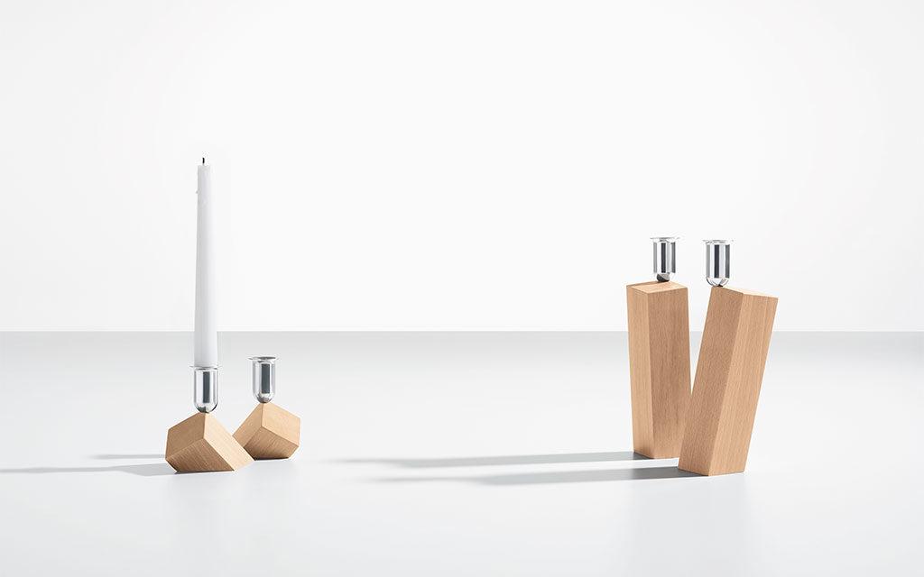 portacandele design legno acciaio