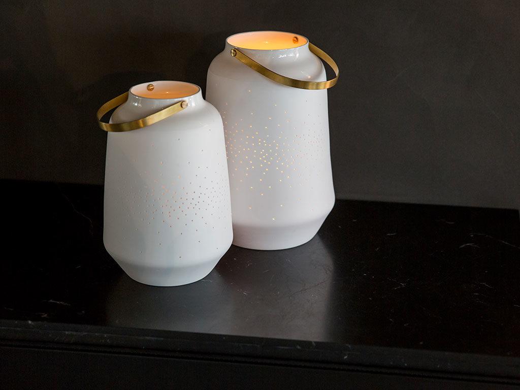 portacandele ceramica con manico