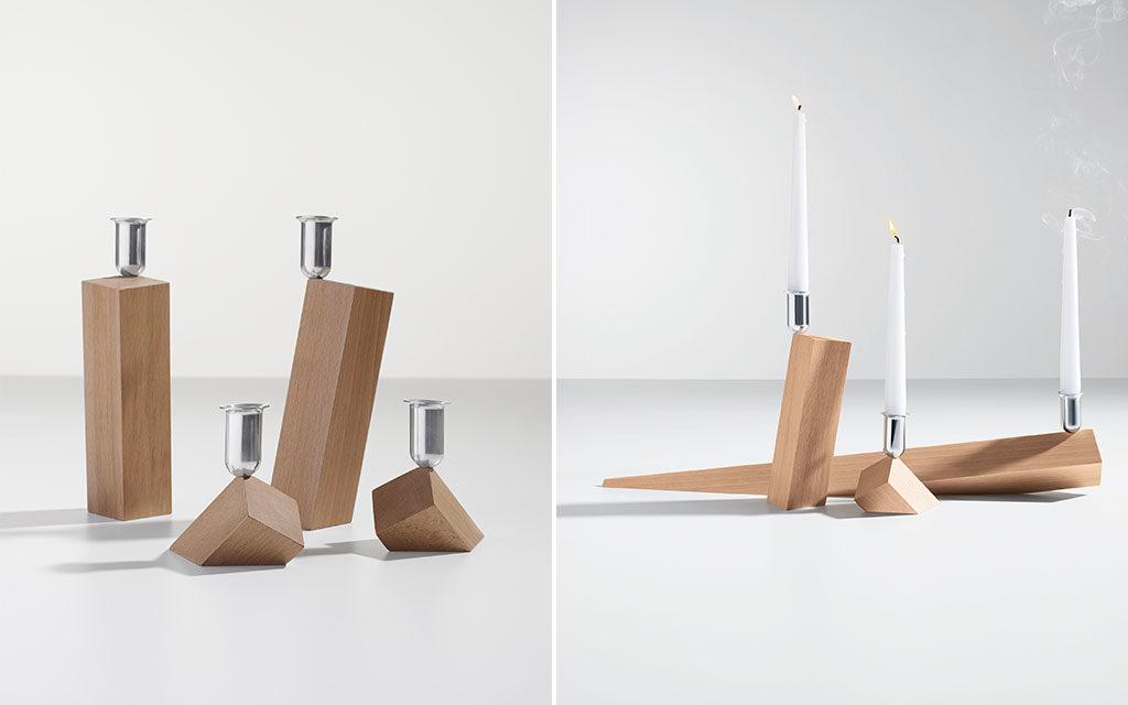 portaacandele design legno e acciaio