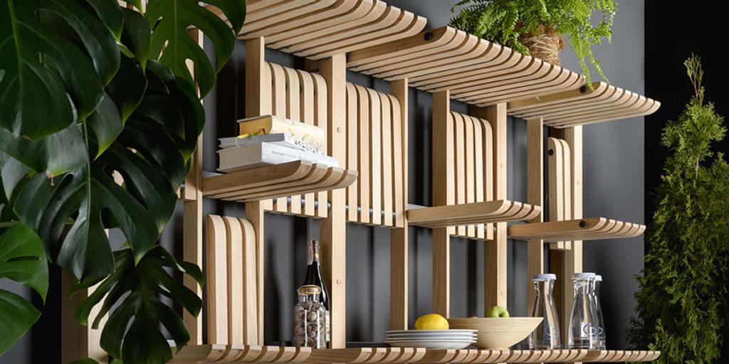 sistema modulare parete legno design