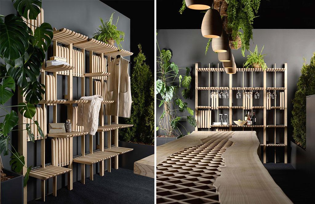 sistema multifunzione parete legno