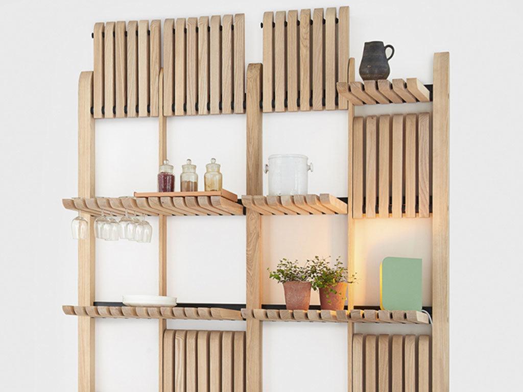 parete attrezzata mensole scomparsa legno