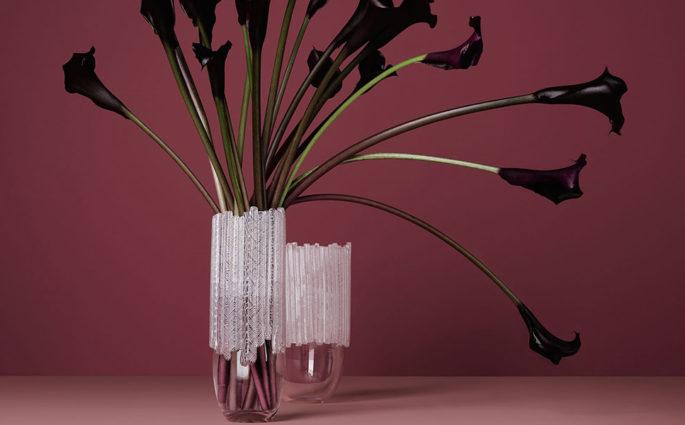 vaso cristallo design e fiori