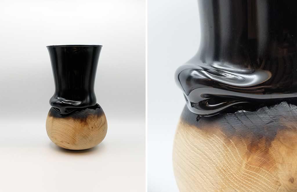 vaso legno vetro