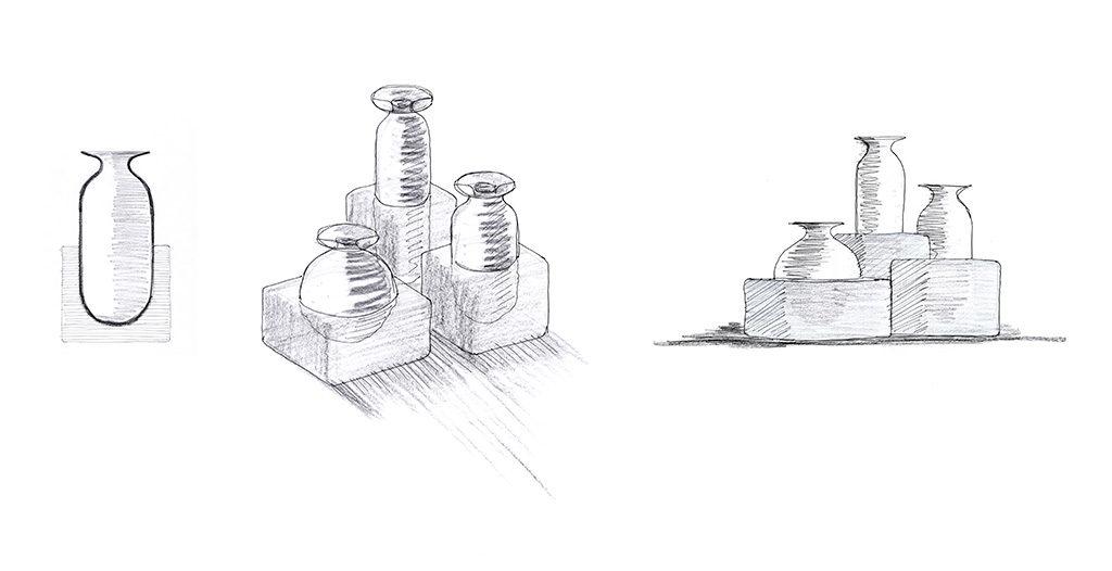 bozzetti disegno vasi