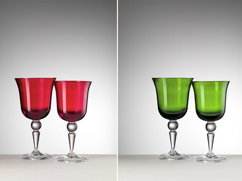 calici cristallo sintetico rosso e verde