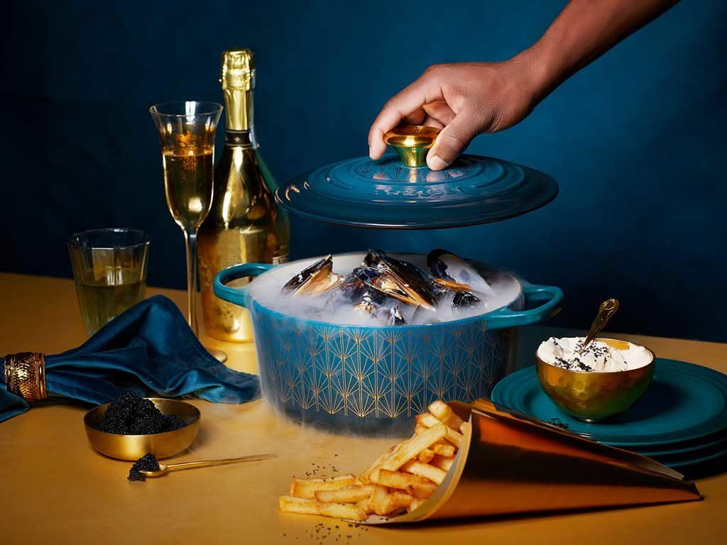cocotte tavola champagne caviale