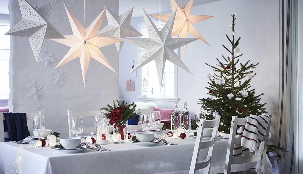 decorazione luci tavola natale