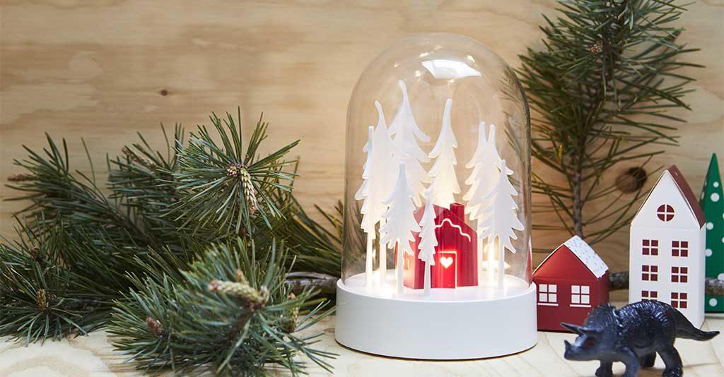 decorazione natale campana vetro alberelli