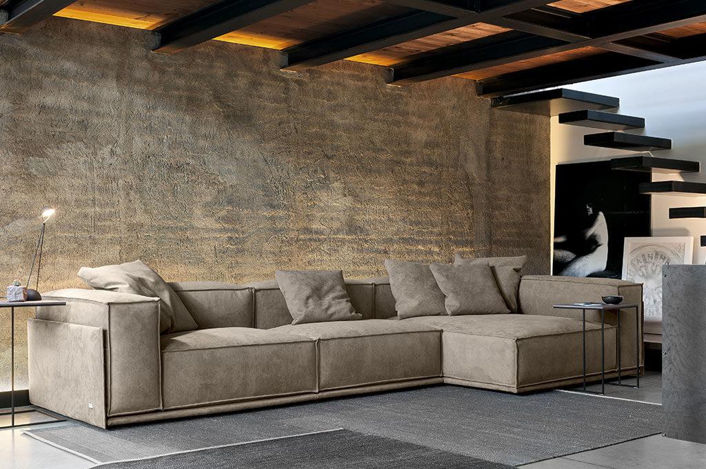 divano angolare beige grande tessuto scamosciato