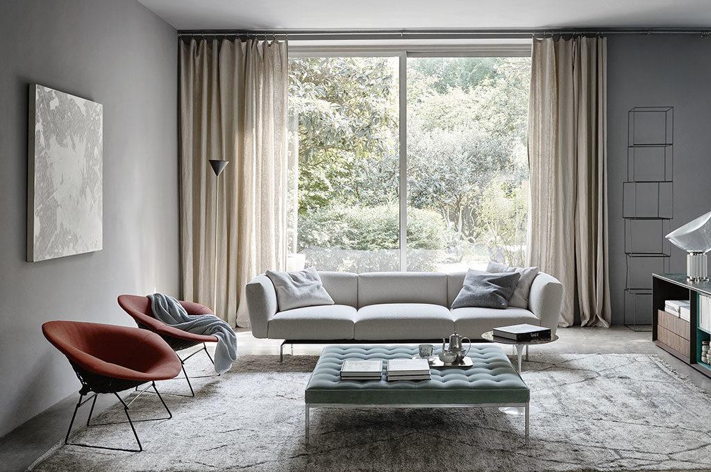 divano bianco tre posti tessuto