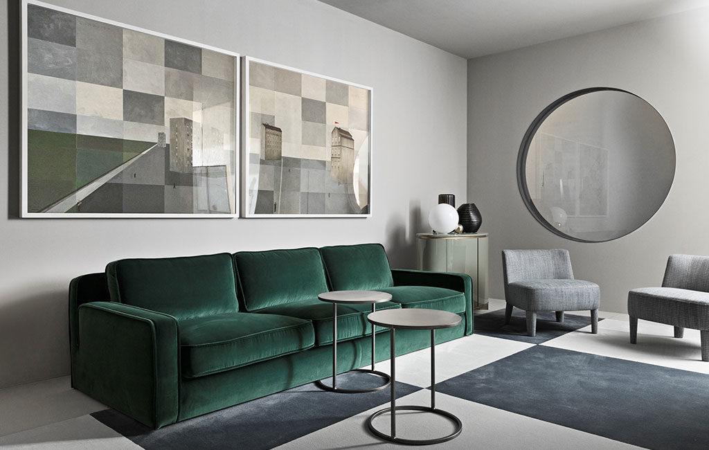 divano velluto verde tre posti