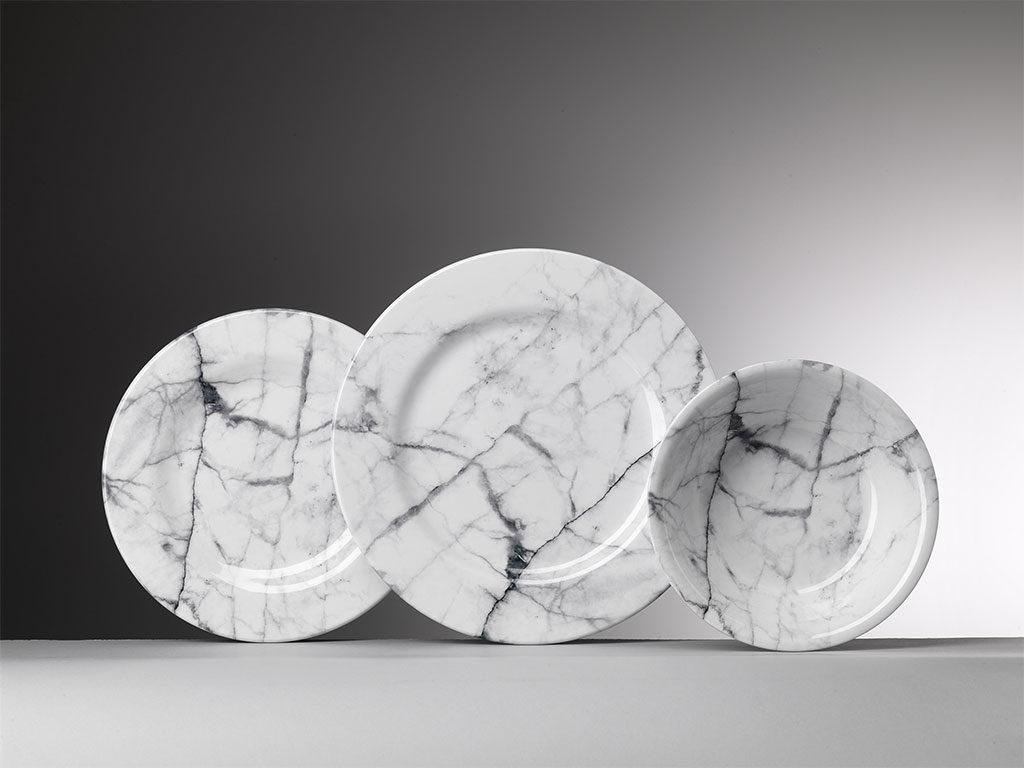 piatti servizio effetto marmo bianco