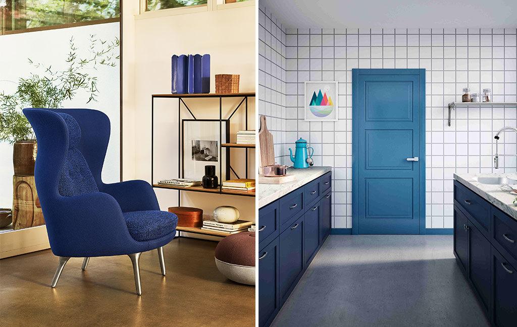 poltrona e porta blu