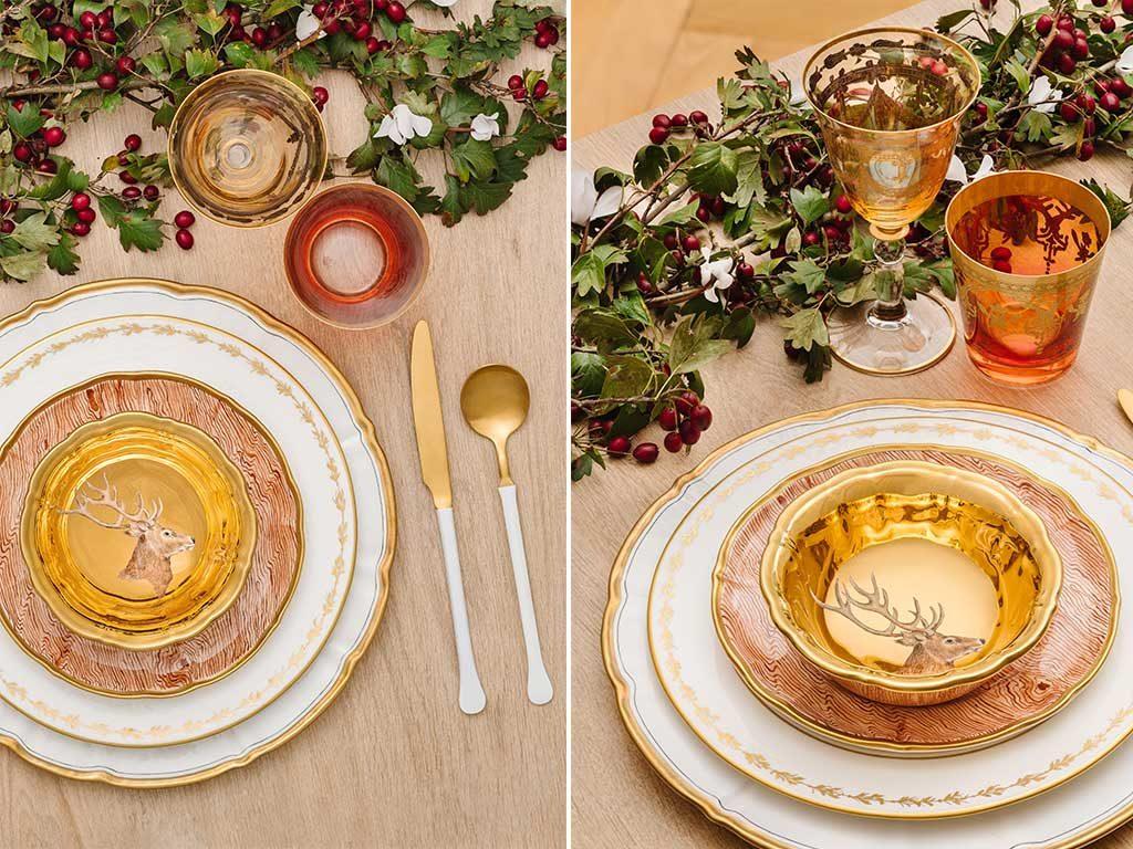 tavola natale piatto renna posate oro bianco