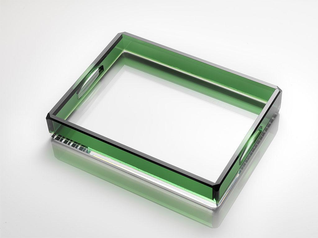 vassoio trasparente e verde cristallo sintetico