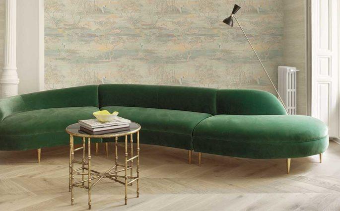 divano velluto verde living