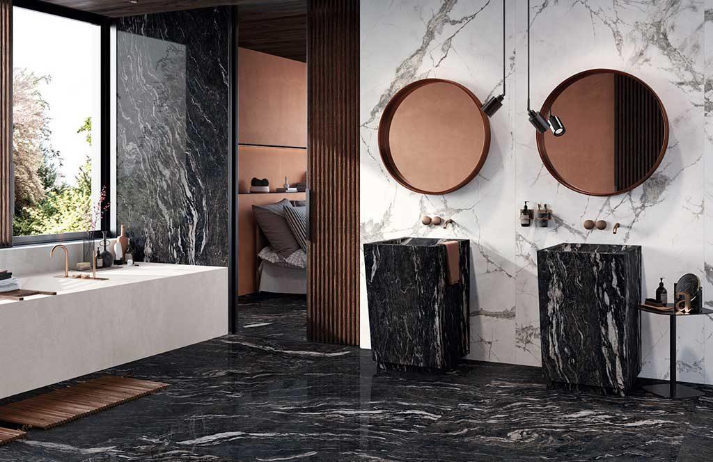 pavimento rivestimento effetto marmo bianco e nero