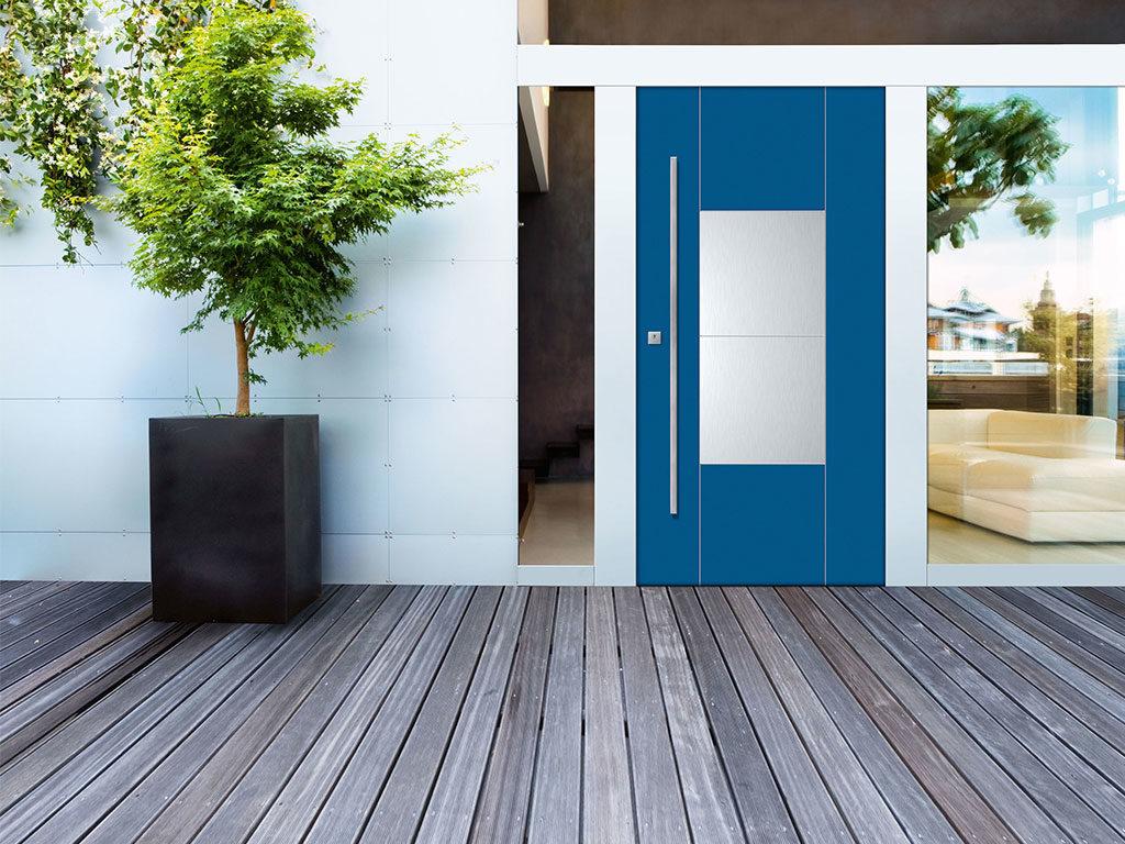 porta blindata esterni azzurro