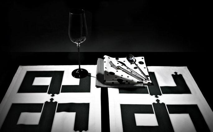 tovagliette bianco e nero