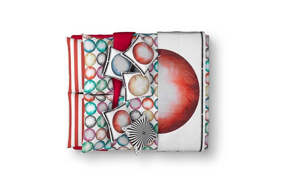 biancheria letto decoro sfere colore