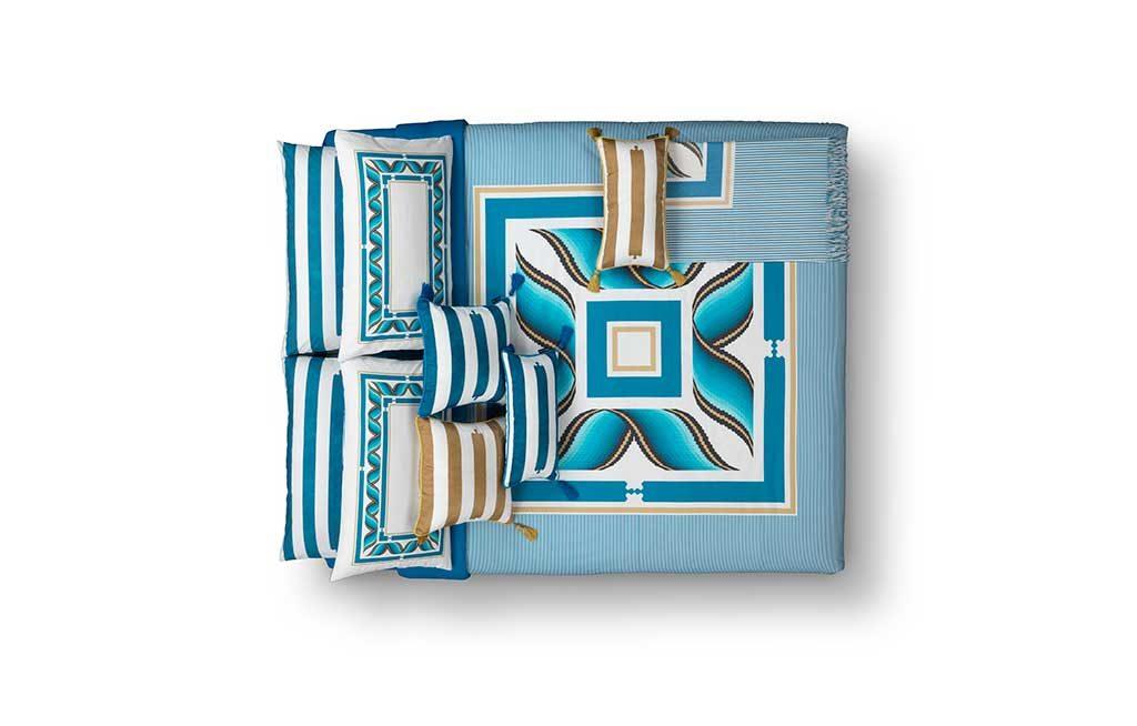biancheria letto lino azzurro oro