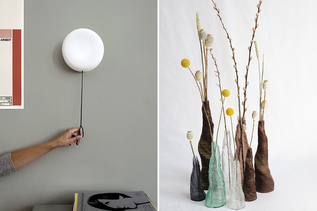 lampada da parete e vasi artigianali