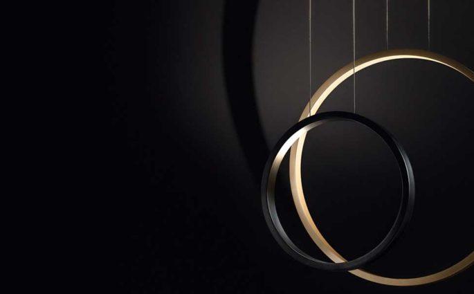 lampade sospese cerchio oro nero
