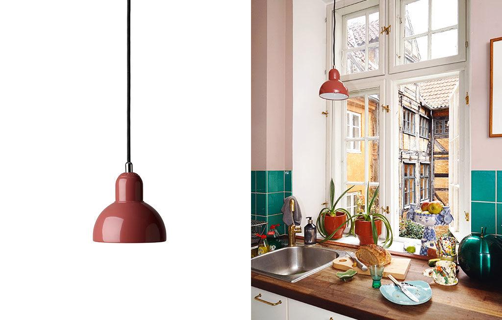 lampada sospesa rossa design scandinavo