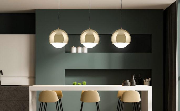 tre lampade sospese cucina