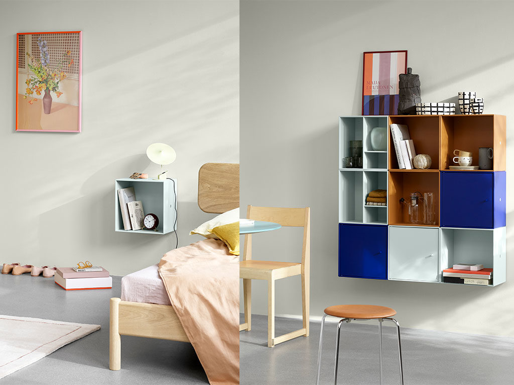 libreria modulare parete cubi