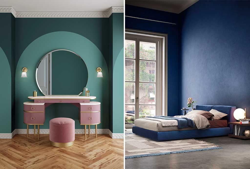 mobile toilette e camera letto parete blu