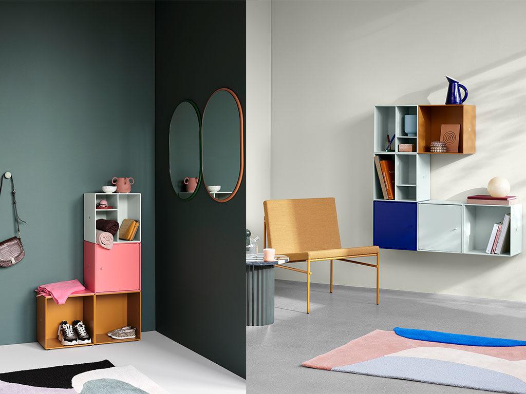 moduli componibili contenitori parete colorati
