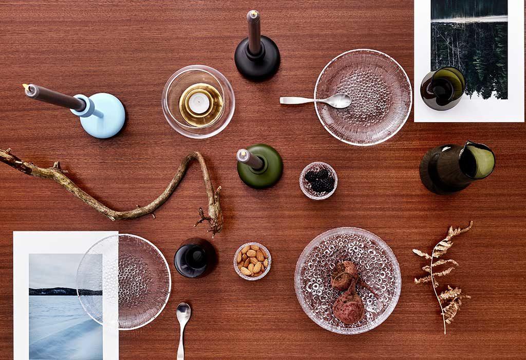 portacandele e piatti vetro tavola