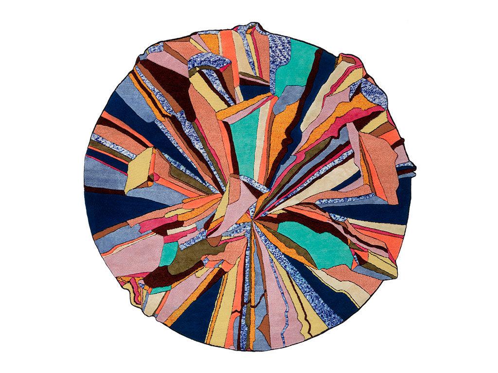 tappeto colorato circolare lana