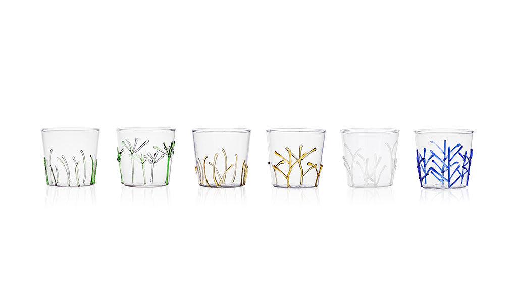 bicchieri bassi con decoro vetro colorato
