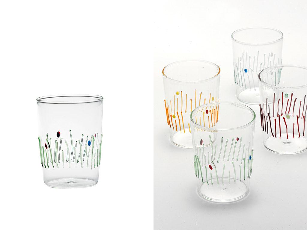 bicchieri decoro vetro colorato