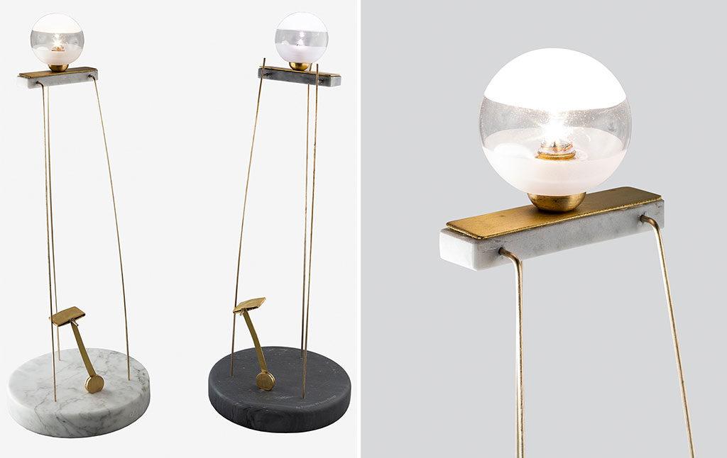 lampada marmo e ottone