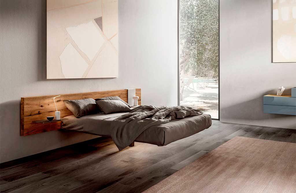 letto sospeso testiera legno