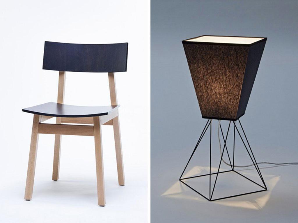 sedia e lampada di design