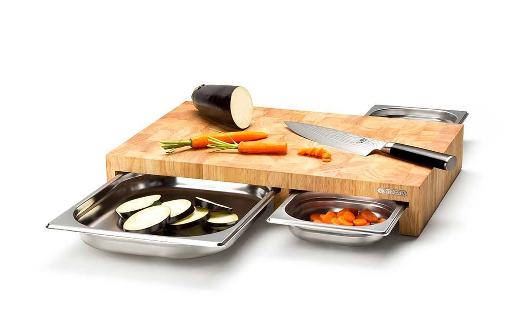 tagliere legno con cassetti acciaio