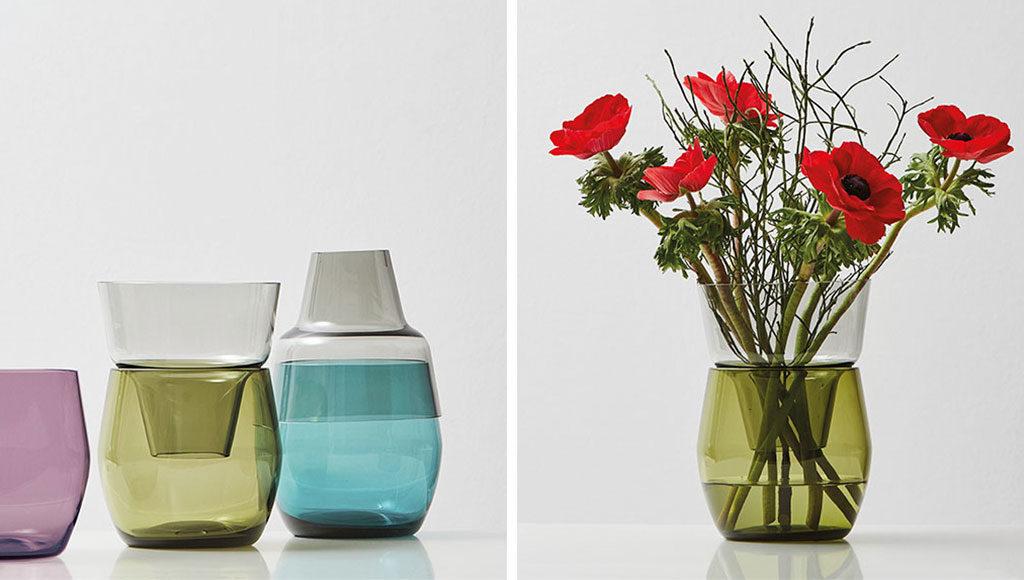 vaso in vetro colorato per fiori