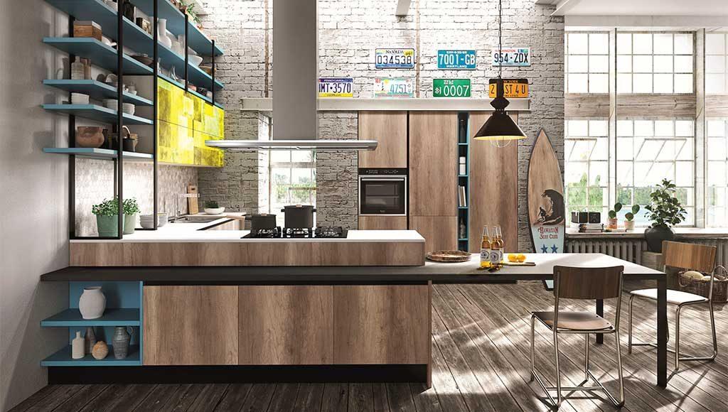 cucina moderna legno industrial