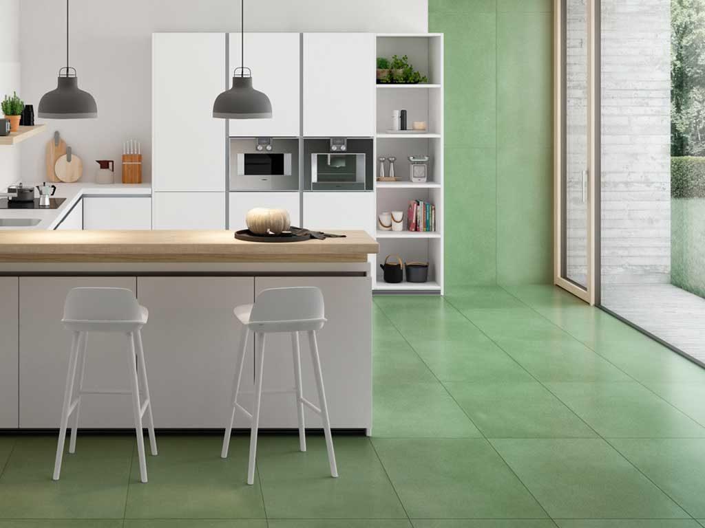 gres porcellanato verde cucina