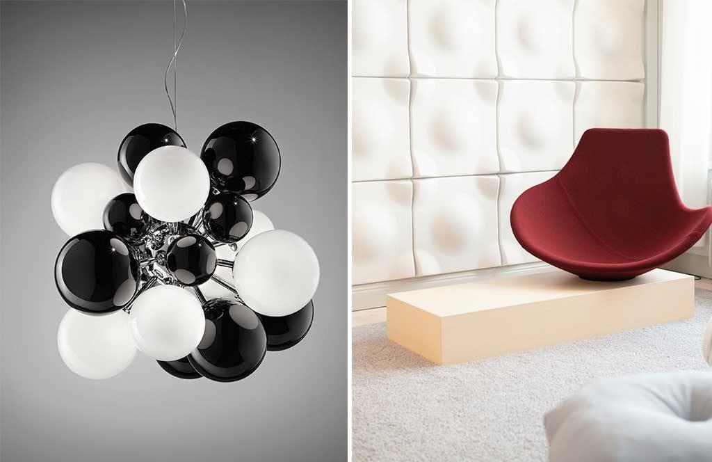 lampada sospesa bianco nero e poltroncina rossa