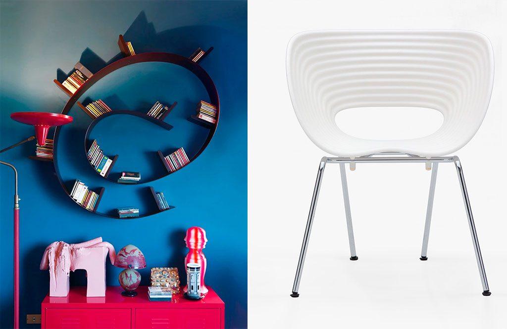 libreria a parete e sedia design