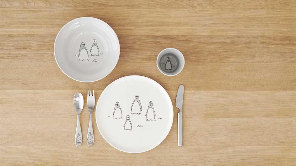 piatti posate bambini decoro pinguini