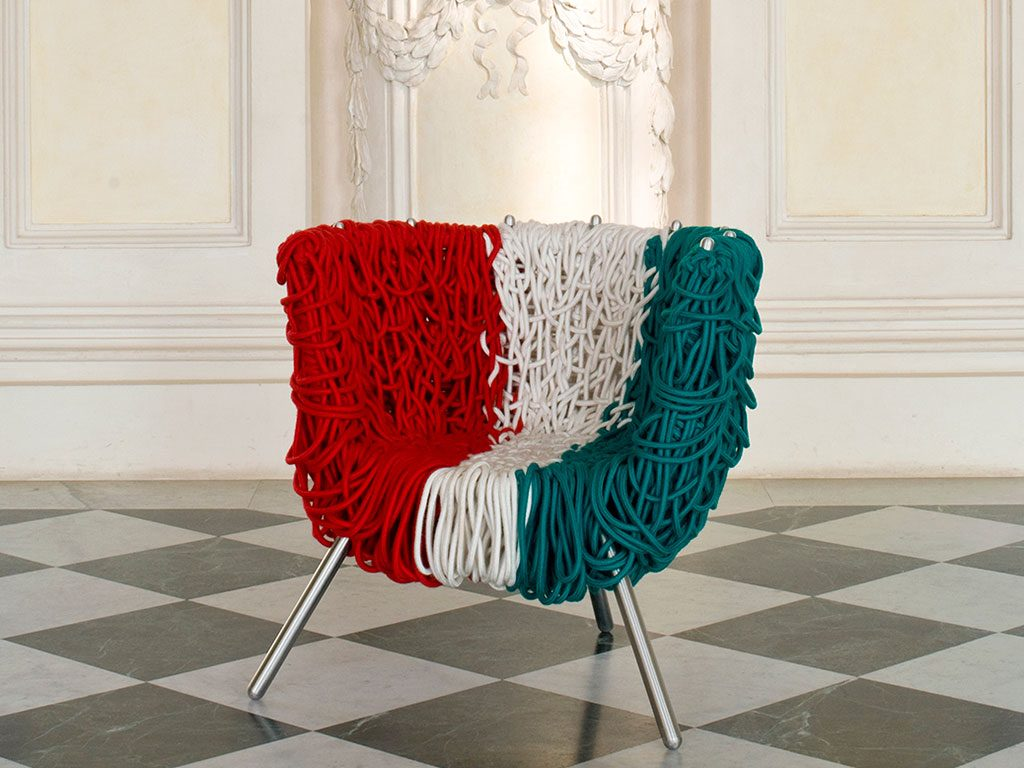 poltrona tricolore corda