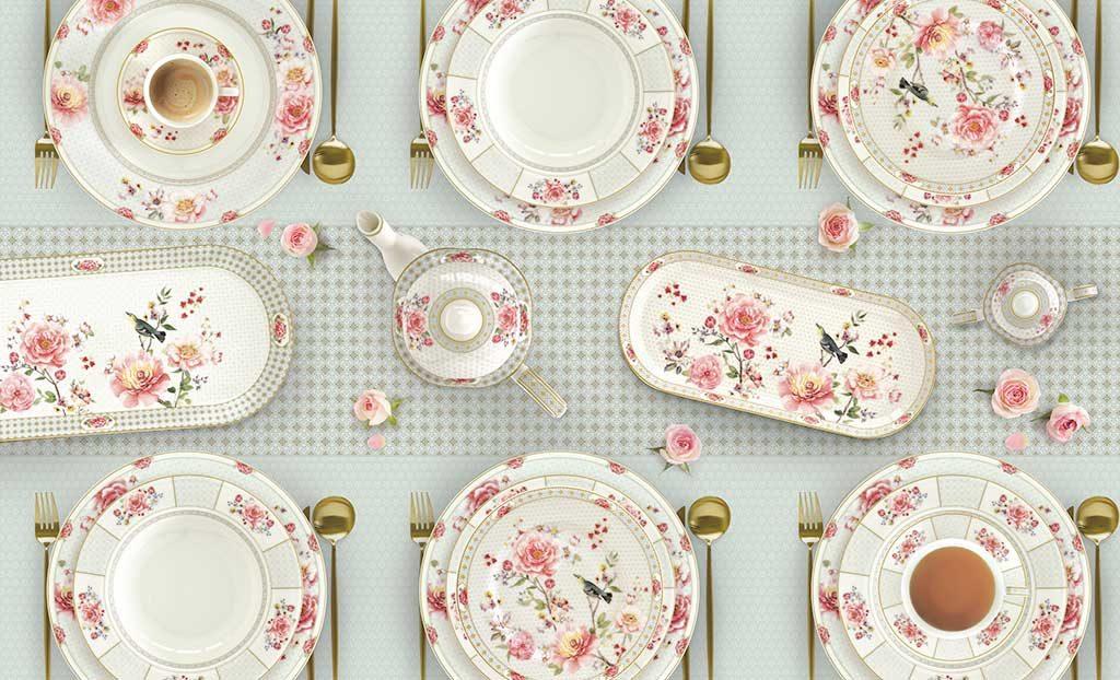 servizio piatti decoro rose