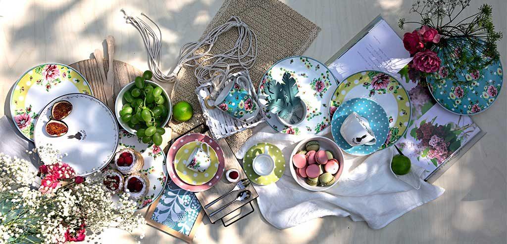 servizio piatti primavera floreale